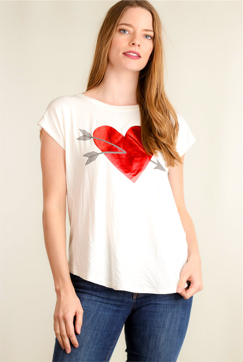 Ivory Heart Button Back Top