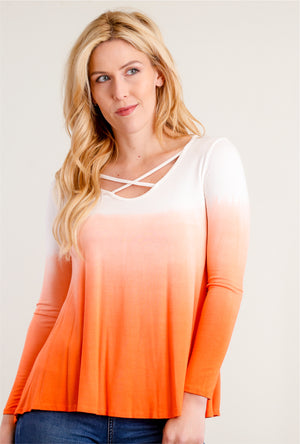 Ombré Orange Coral Criss Cross Front Blouse