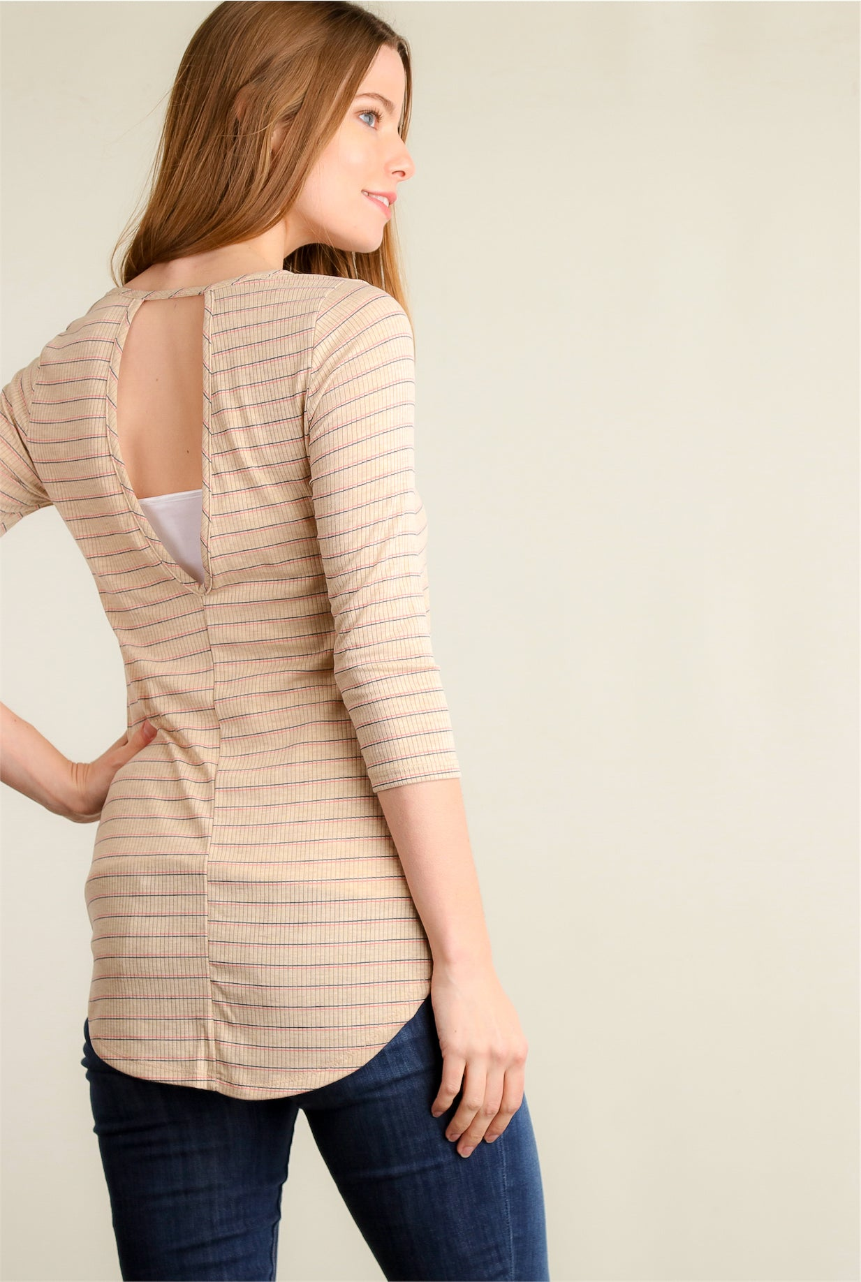 Taupe Stripe Key Hole Blouse