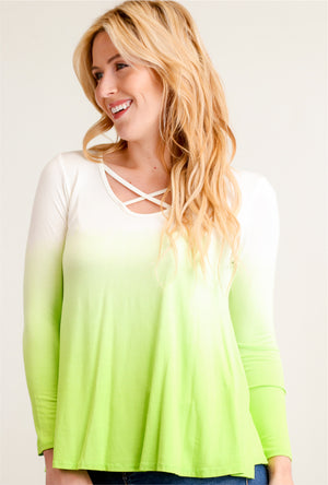 Ombre Lime Criss Cross Front Blouse