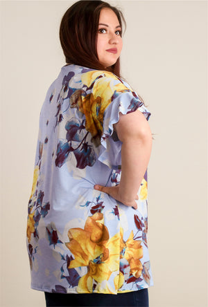 Plus Blue Floral Bell Sleeve Tunic