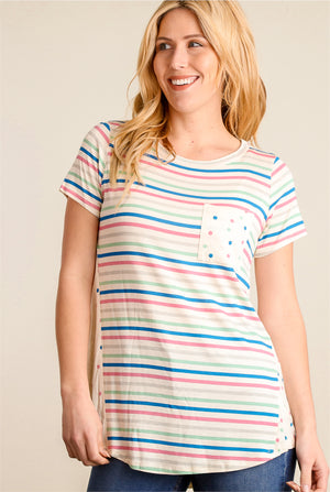 Royal Pink Stripe Pocket Blouse
