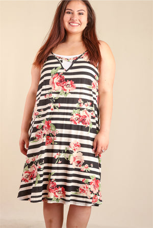PLUS Black & Ivory Floral Stripe Sleeveless Dress