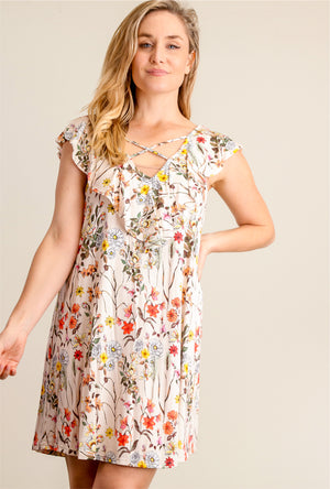 Taupe Floral Criss Cross Dress