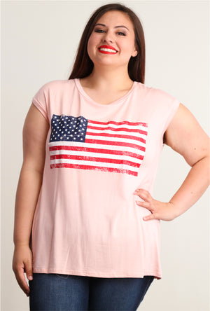 Plus Blush Flag Blouse