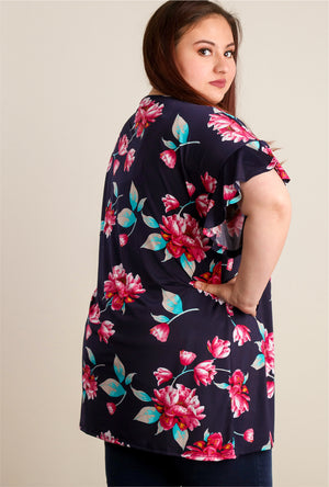 Plus Navy Floral Bell Sleeve Tunic