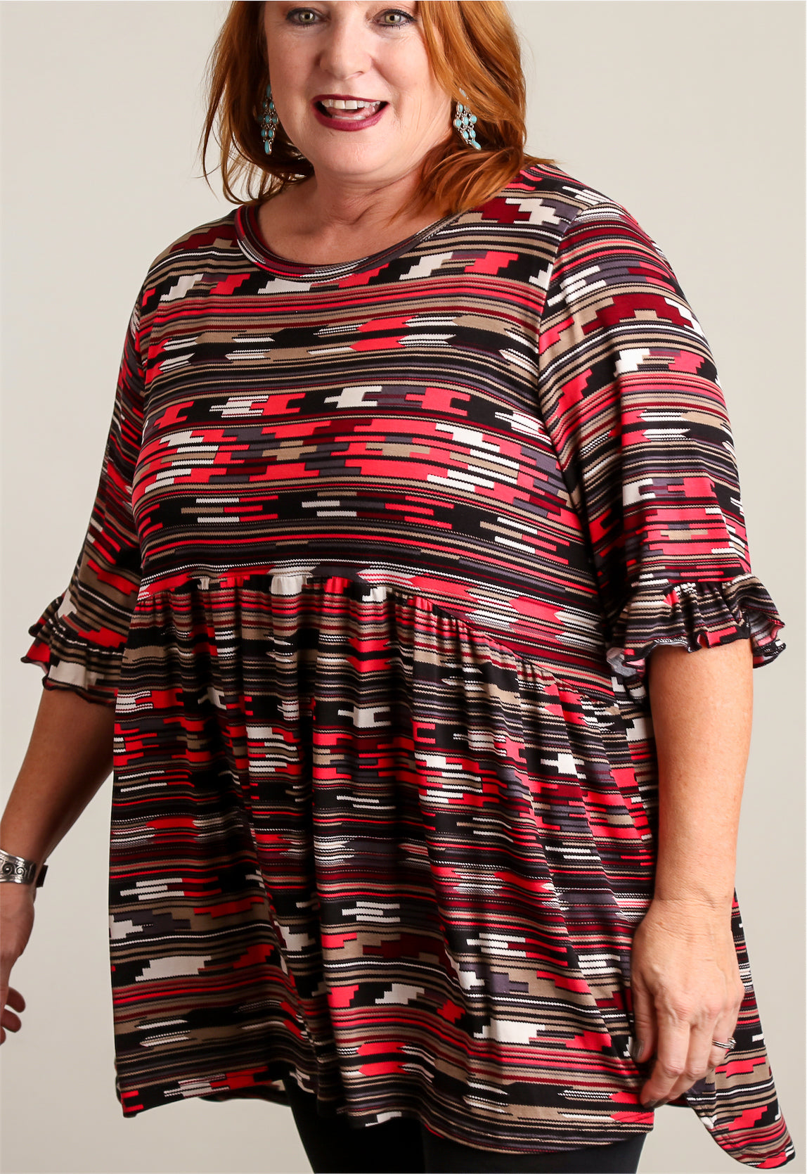 Plus Red Printed BabyDoll Tunic