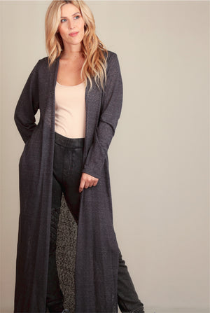 Grey Solid Long Hacci Cardigan