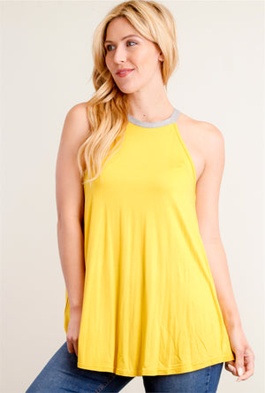 Yellow Halter Sleeveless Blouse