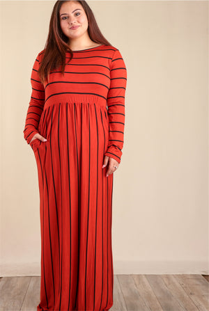 PLUS Red Orange Stripe Pocketed Maxi Dress (5 pcs)