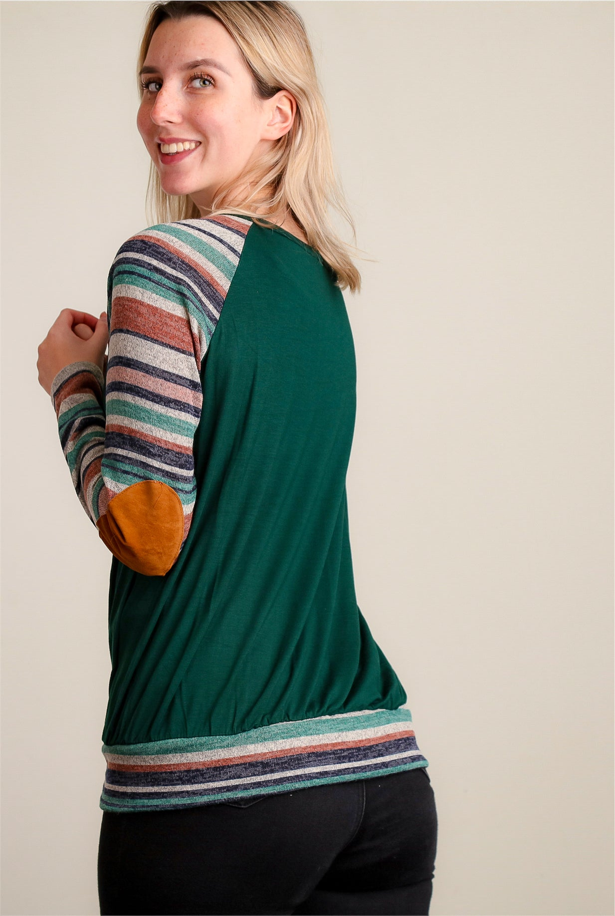 Stripe Elbow Patch Raglan Blouse