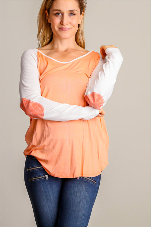 Coral Elbow Patch Blouse