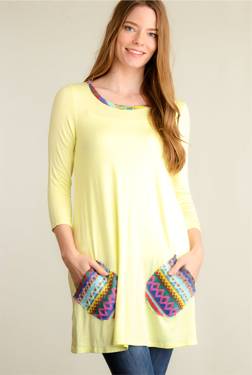 Yellow Pocketed Design Dress