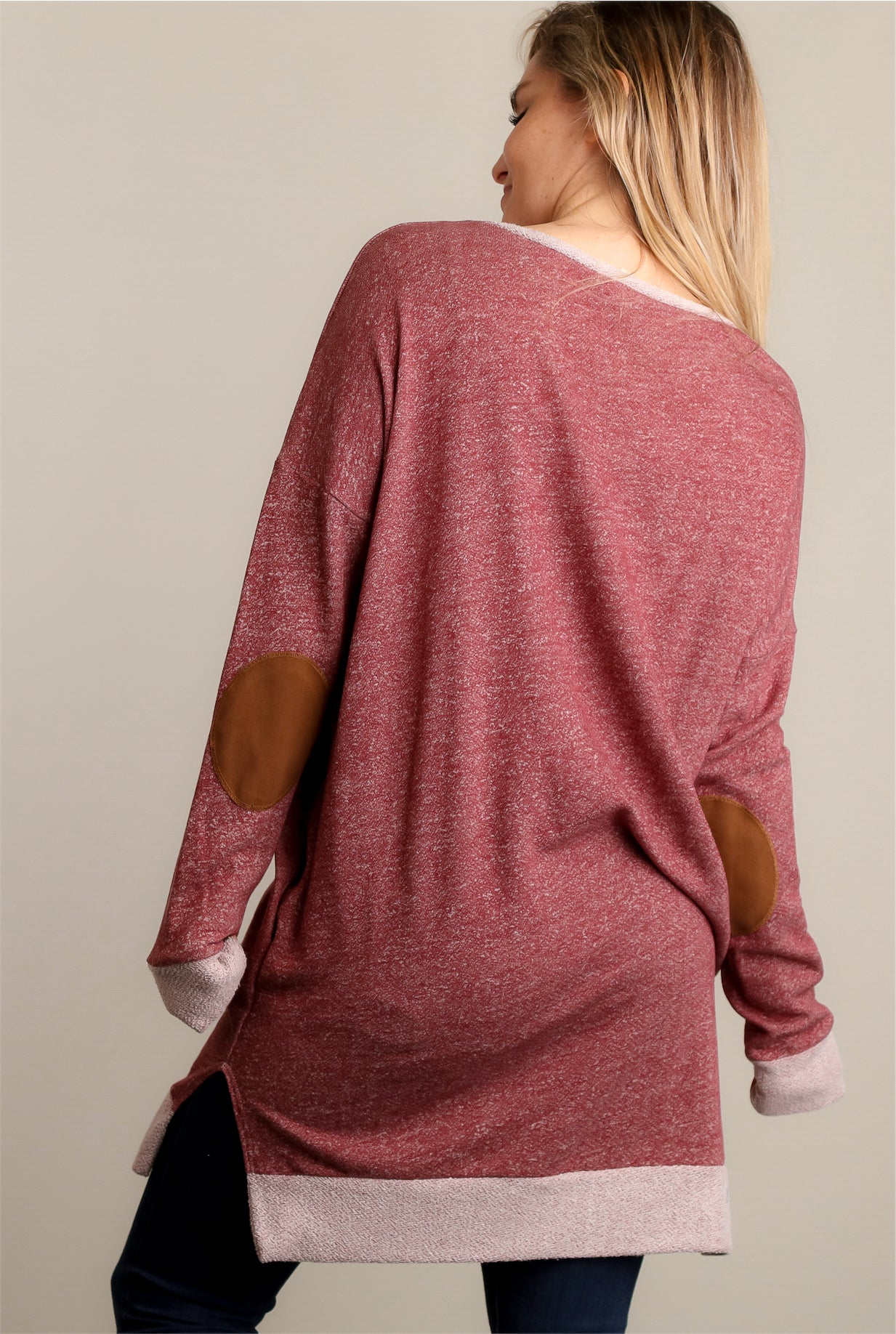Burgundy French Terry Elbow Patch Sweater