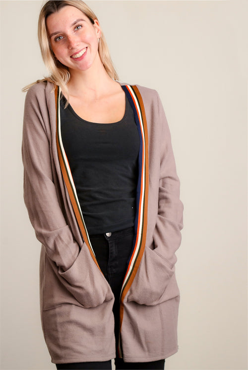 Brown Ultra Soft Pocketed Long Cardigan