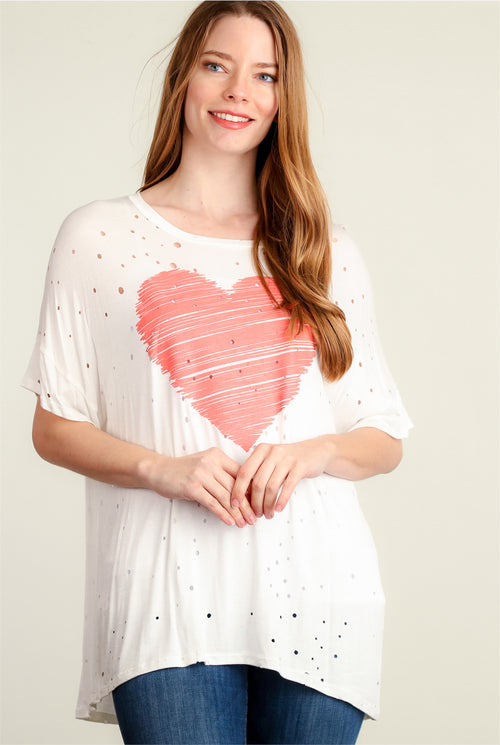 Ivory Heart Print Blouse