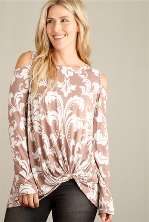Taupe Design Cold Shoulder Blouse