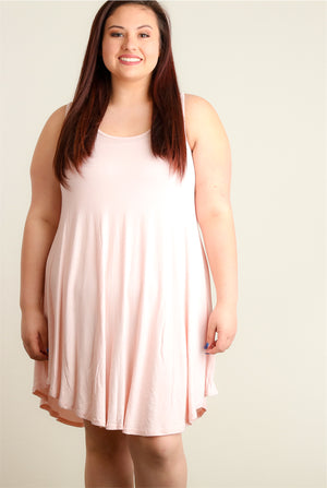 Plus Light Blush Soft Tunic Dress