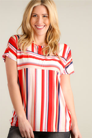 Red Multi Stripe Blouse