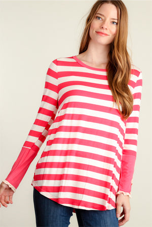 Coral Stripe Button Sleeve Blouse