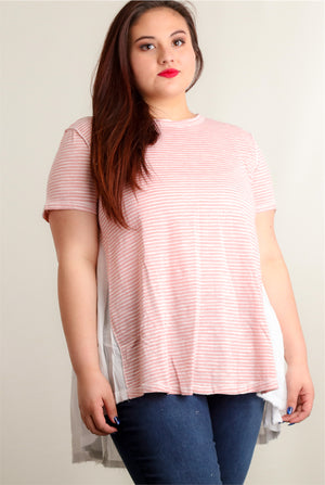 Plus Pink Stripe Design Blouse