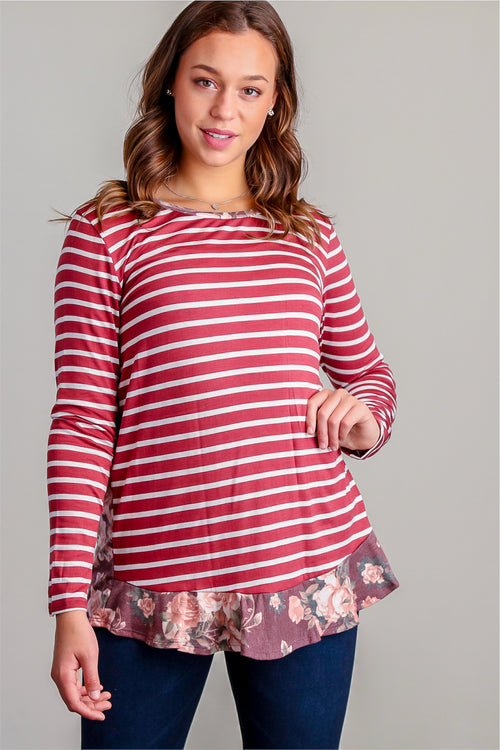 Burgundy Stripe Floral Design Blouse