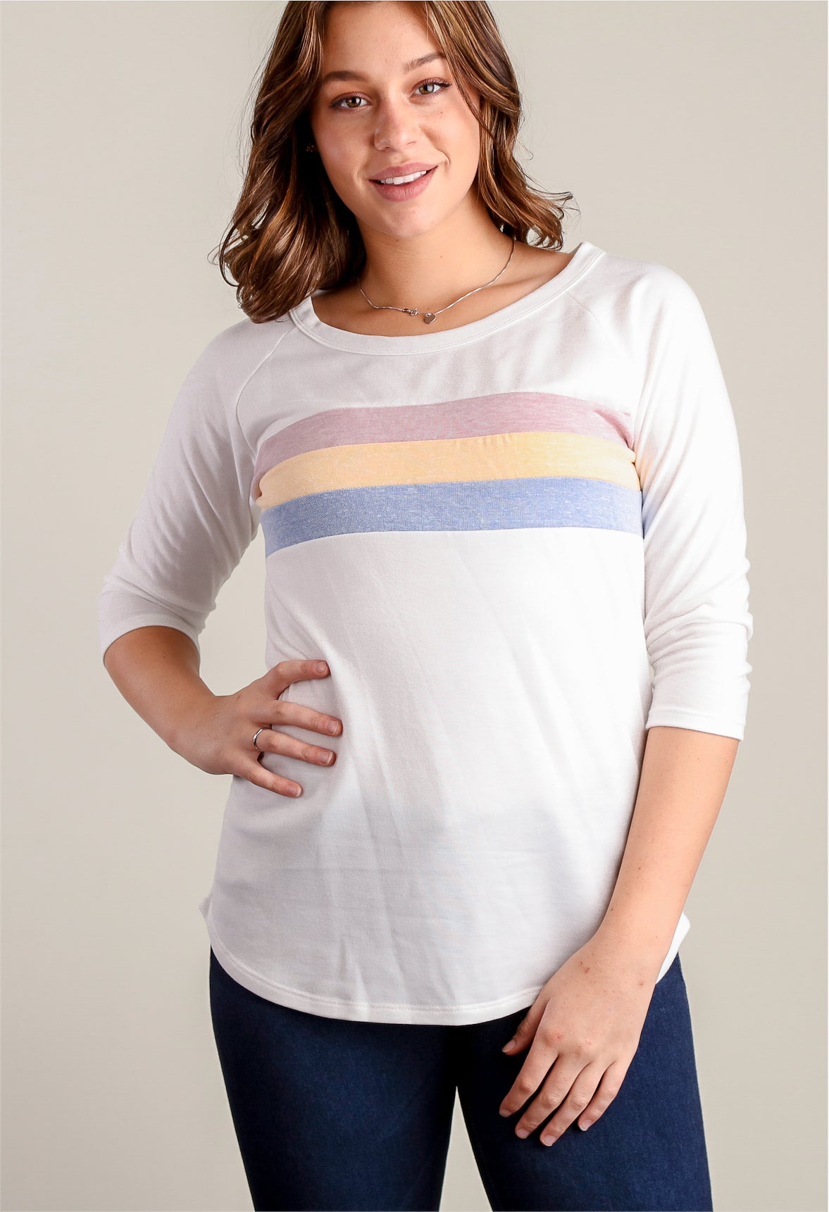 Ivory Stripe Design Blouse