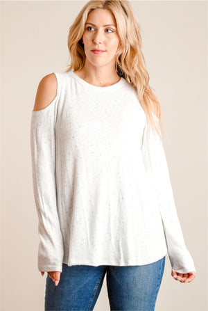 Ivory & Blue Marled Cold Shoulder Sweater