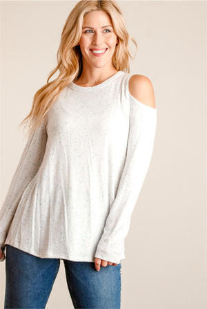 Soft Ivory & Blue Marled Cold Shoulder Sweater