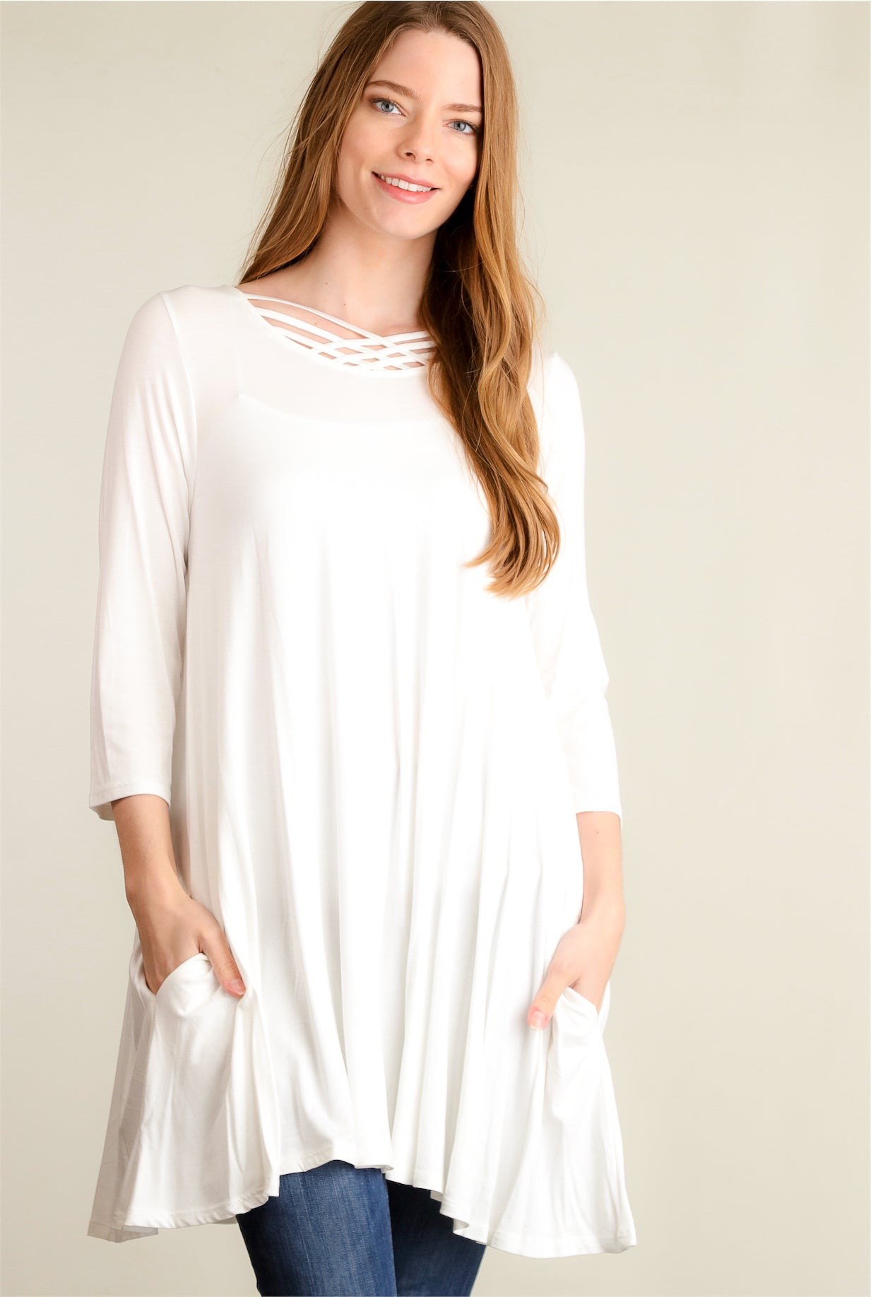 Ivory Panel Design Pocketed Dress