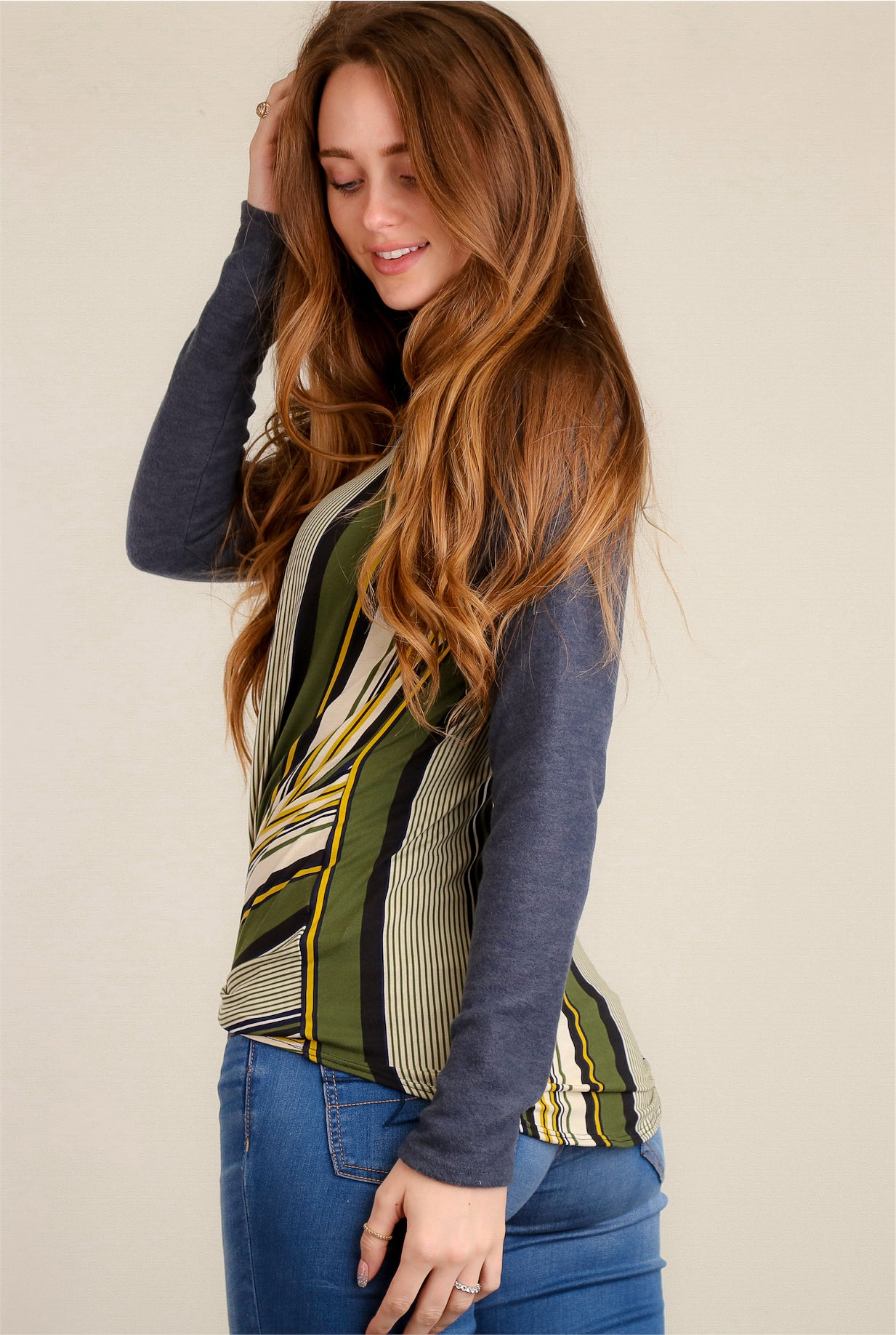 Green & Charcoal Stripe Twist Front Blouse