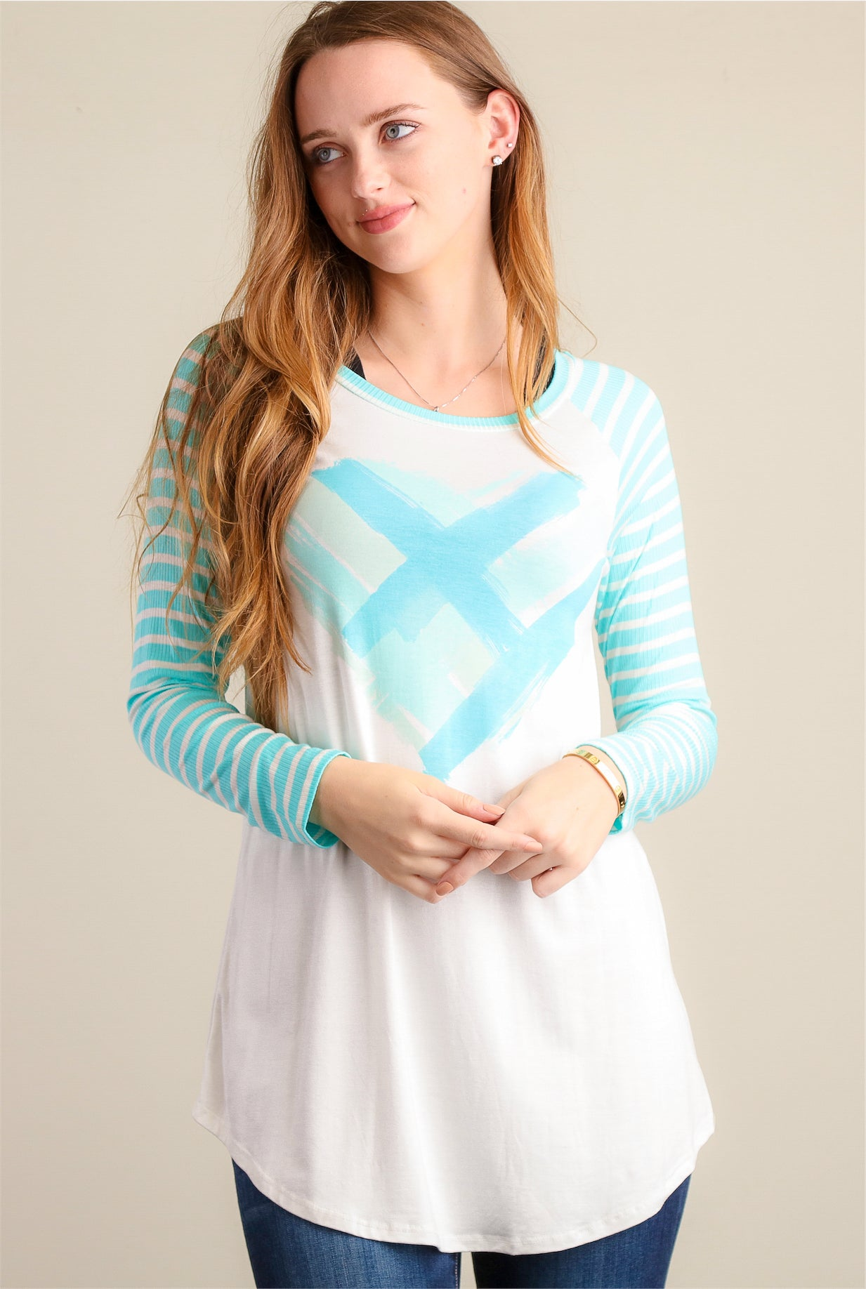 Mint Heart Print Stripe Raglan