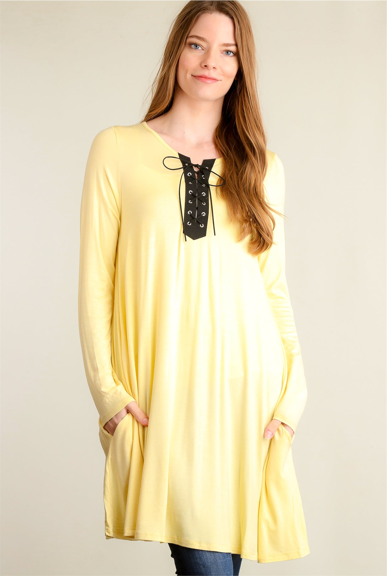 Yellow Lace Up Panel Pocket Dress