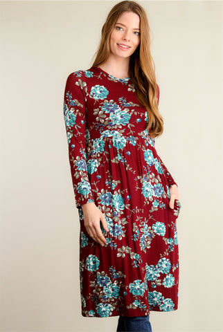 Blue Printed Key Hole Tunic Dress