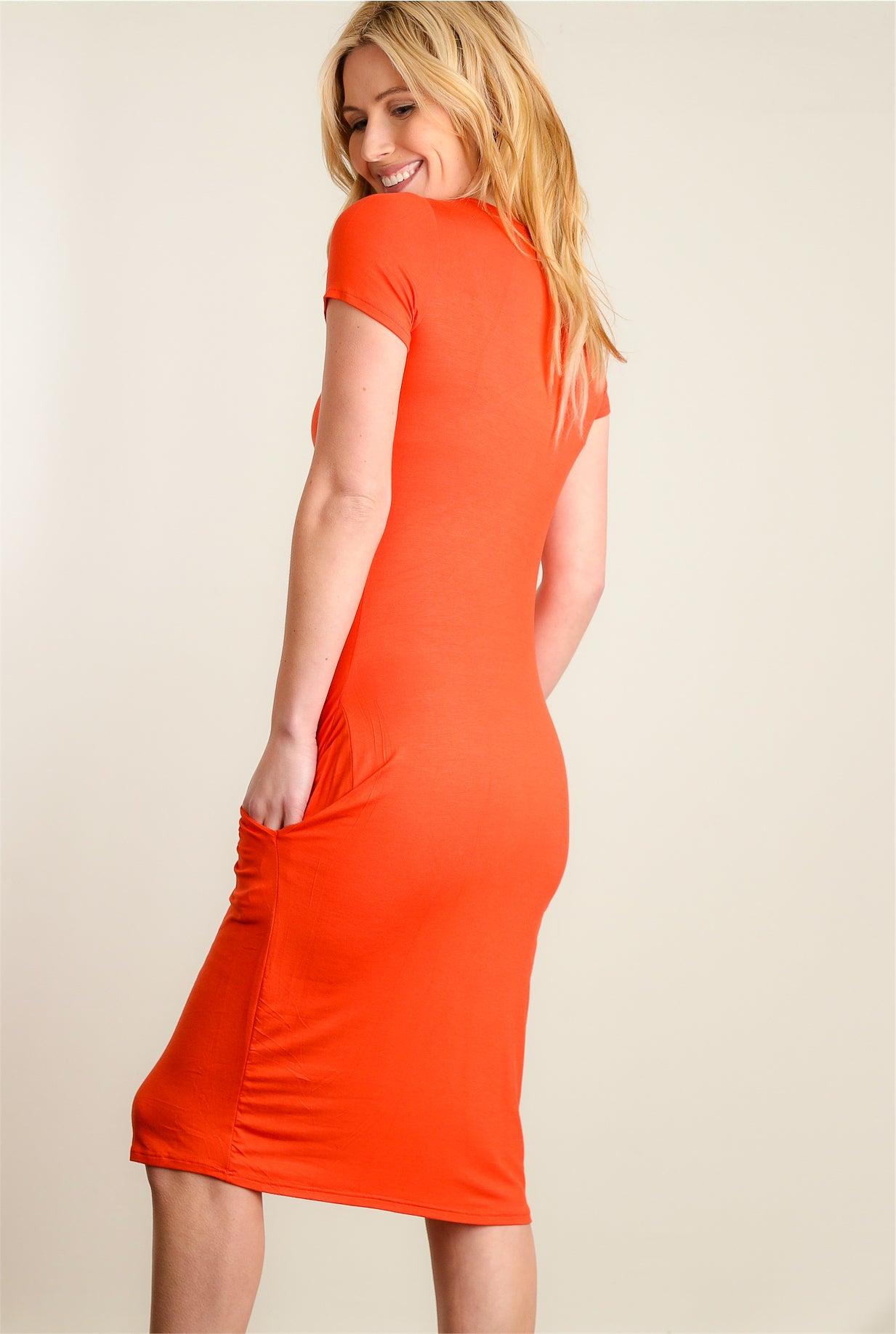 Coral Pocketed Dress