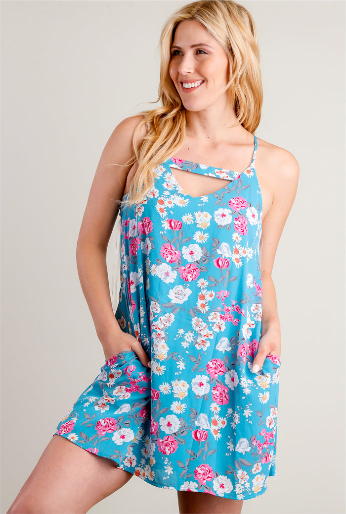 Blue Floral Cut Out Lined Pocketed Dress