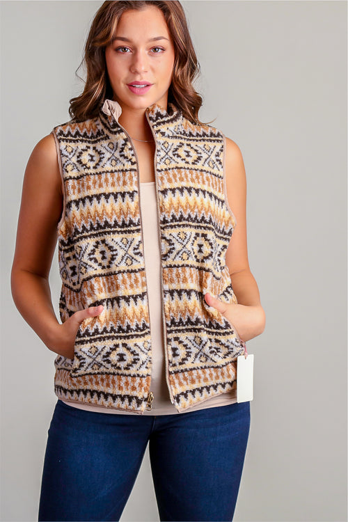 Mocha & Black Tribal Vest