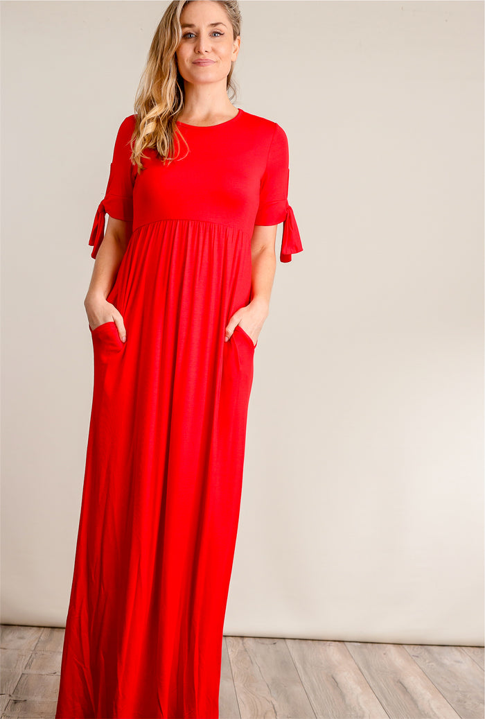 Red Tie Sleeve Pocketed Maxi Dress