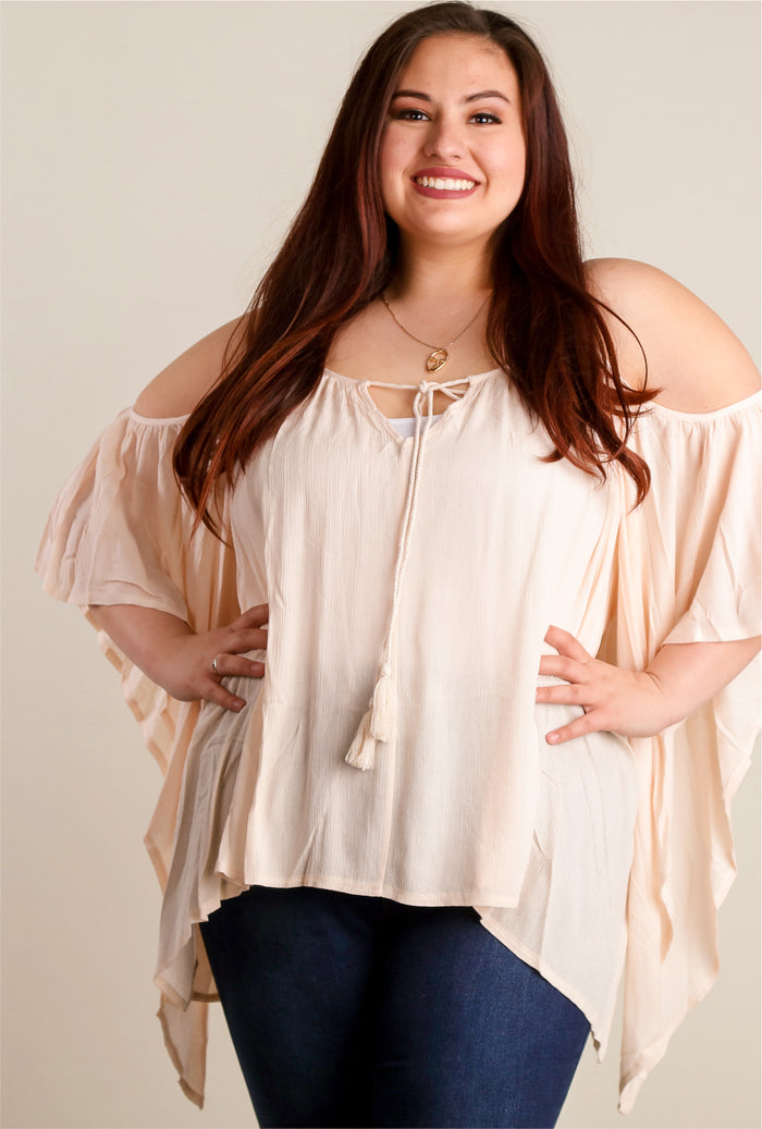 Plus Blush Cold Shoulder Blouse