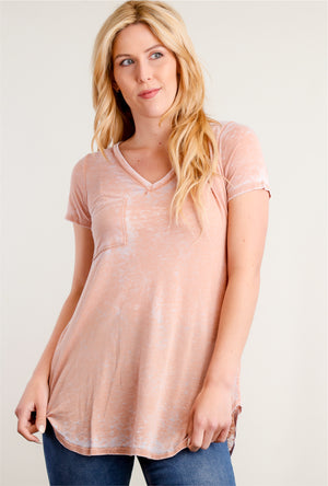 Peach Washed Pocket Blouse