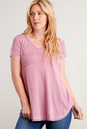 Off Pink Washed Pocket Blouse