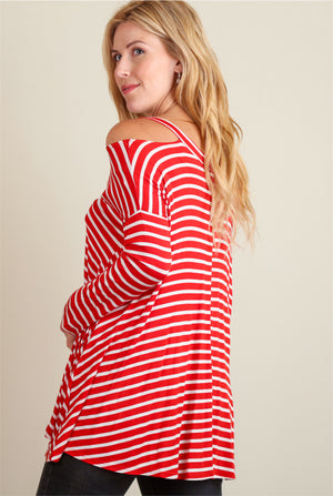 Red & White Stripe Cold Shoulder Blouse