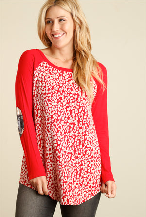 Red & Ivory Animal Raglan Blouse