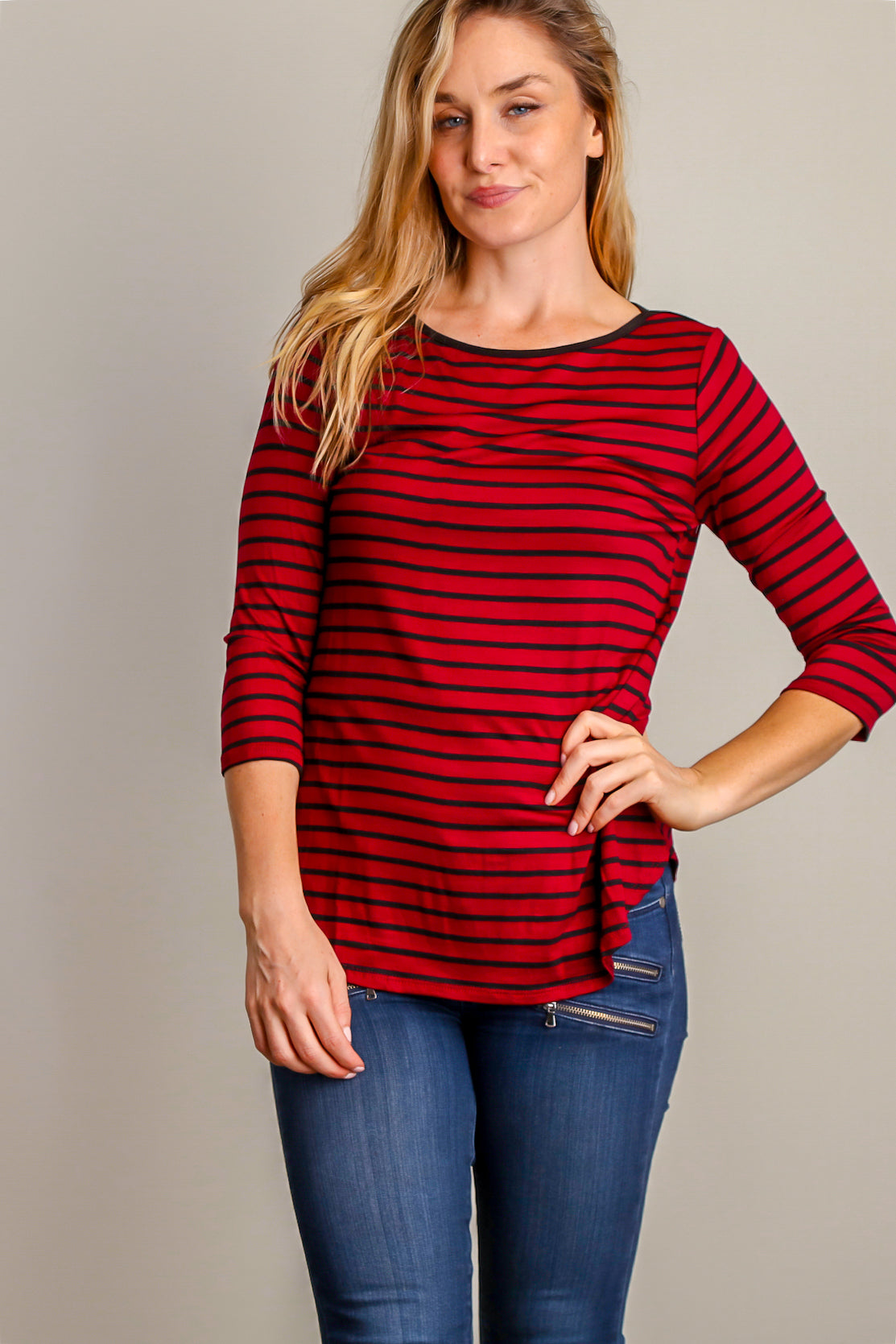 Burgundy Stripe Blouse