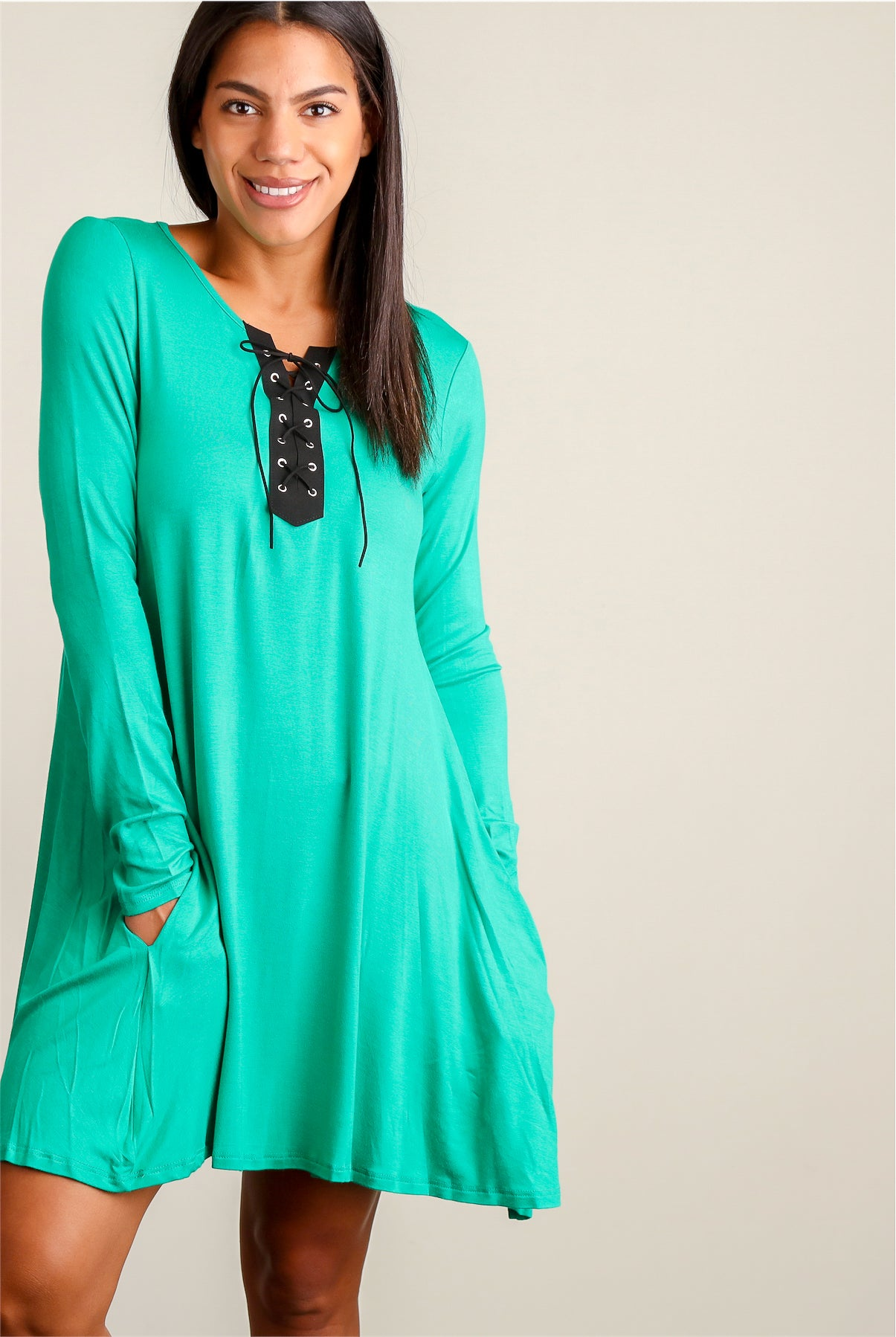 Kelly Green Panel Design Pocketed Dress