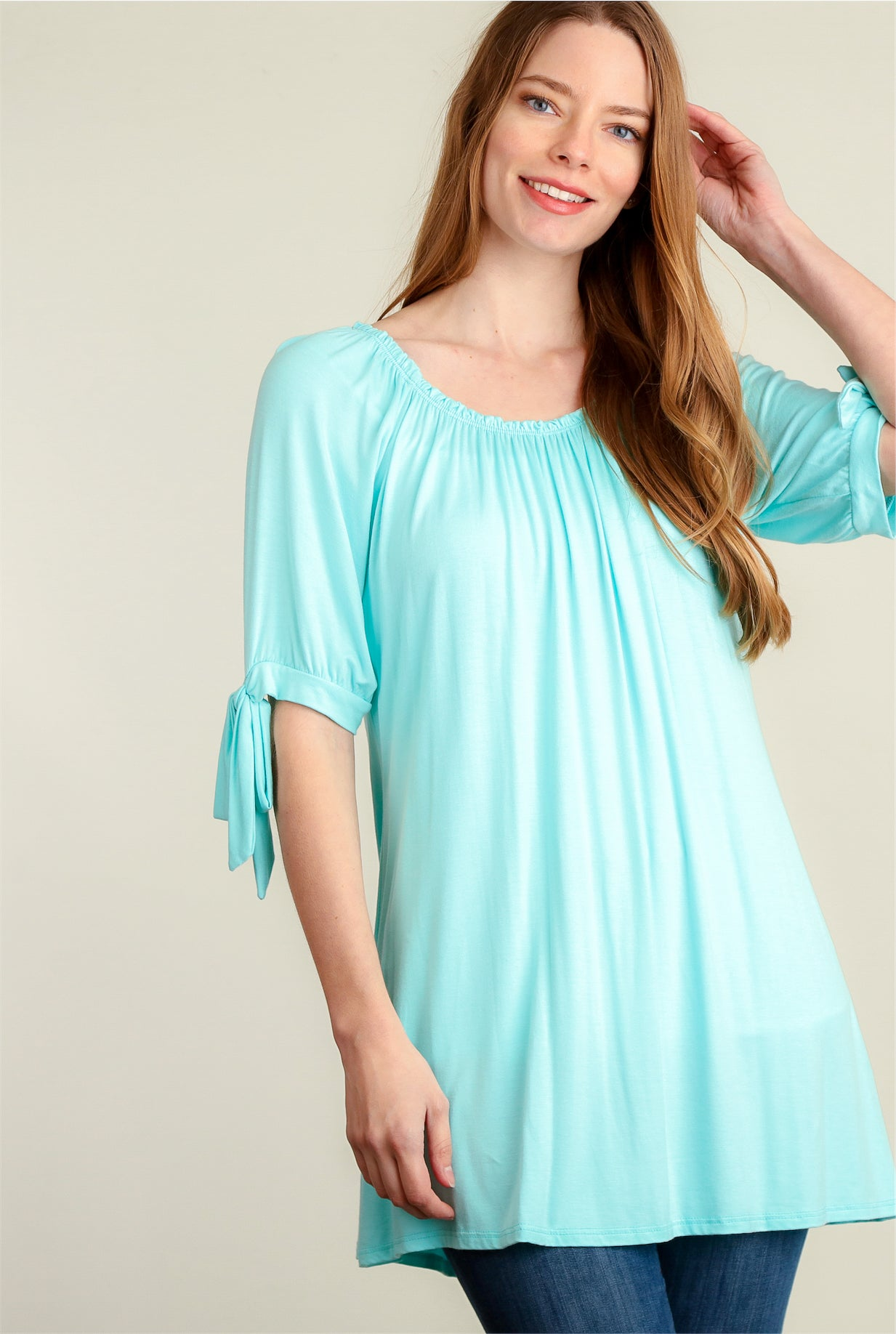 Mint Smock Neck Tie Sleeve Tunic