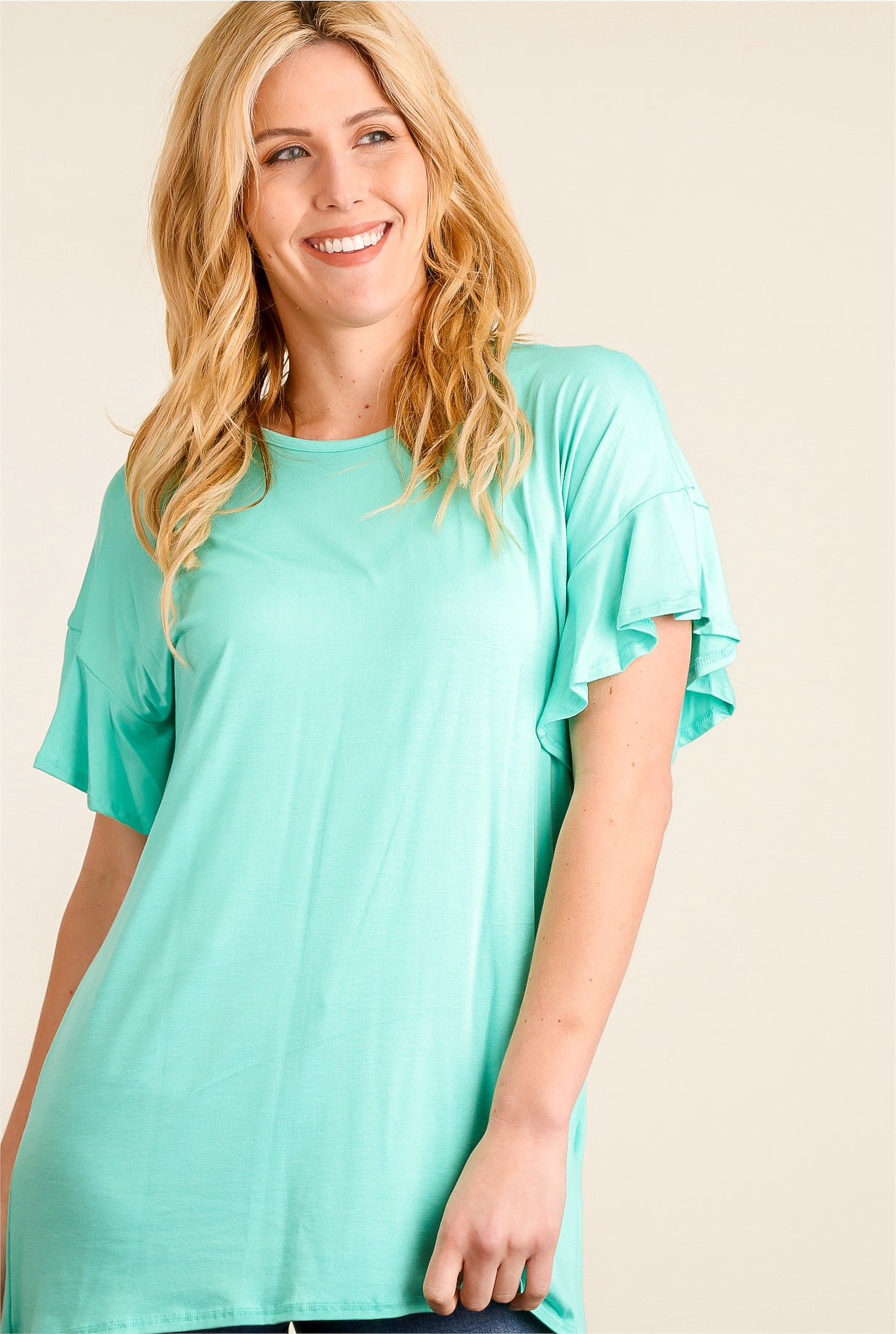 3a929f524bff Mint Flowy Ruffle Sleeve Top – Bloom Wholesale Clothing