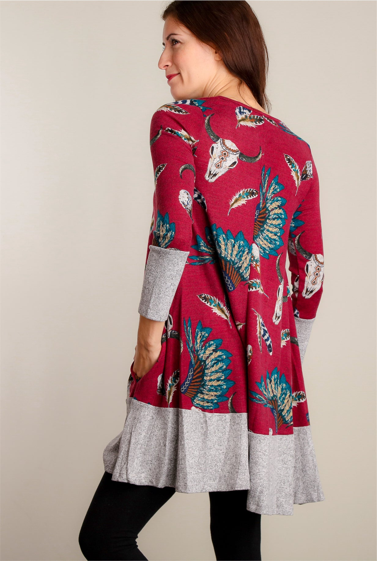 Burgundy Cattle Print Soft Pocketed Dress