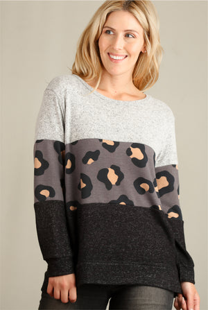 Charcoal Animal 2 Tone Colorblock Sweater