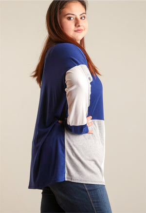 Plus Navy Colorblock Blouse